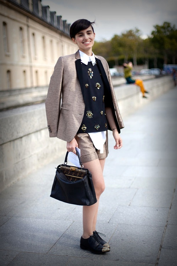mod-STREET-STYLE-WHITE-COLLAR-SHIRT-PARIS-FASHION-WEEK-SHORT-HAIR-MASCULINE-BOY-INSPIRED-SCHOOL-LOOK-MIU-MIU-EMBELLISHED-SWEATER-GOLD-SHORTS-CONTRACT-COLOR-BLOCK-BLAZER-JACKET-FENDI-BAG-GOLD-CAPTOE-STUDDED-OXFORDS-HARPERS-BAZAAR-