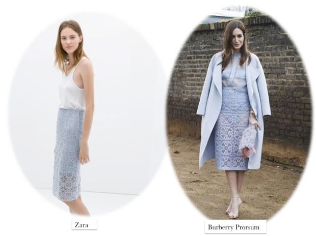 burberry prorsum lace skirt blue Gala Gonzalez clon Zara
