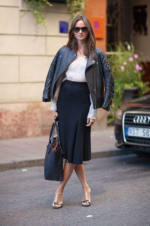 midi skirt leather jacket spring street style fashion moda style heelsandpeplum