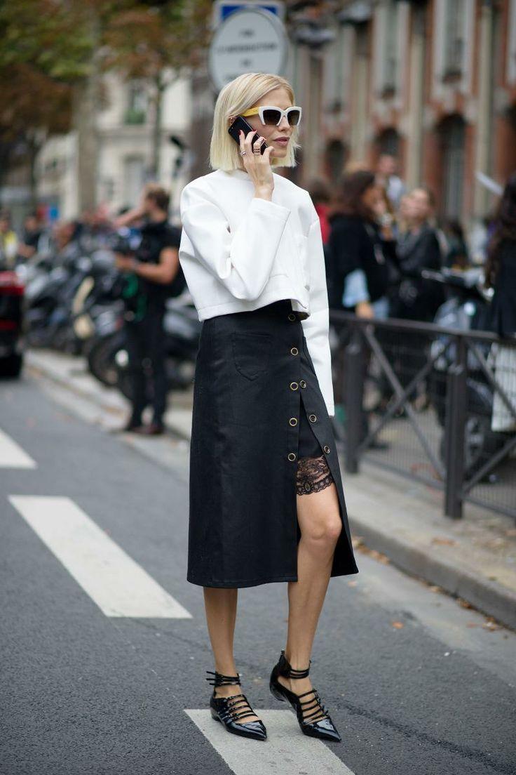 andrea rubik spring leather midi skirt strap flats  street style fashion moda style heelsandpeplum