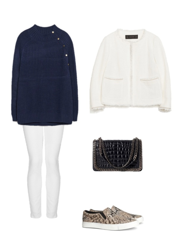 white jeans navy sweater buttons zara chanel jacket h&m slip-on fashion moda heelsandpeplum