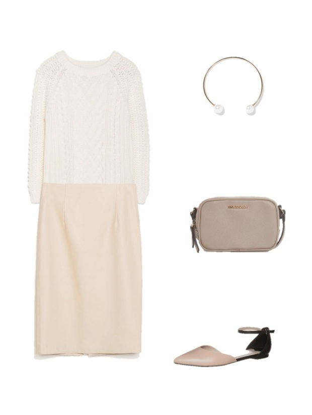 white chunky sweater pearl sara collar mango bag taupe shoes heelsandpeplum fashion moda looks