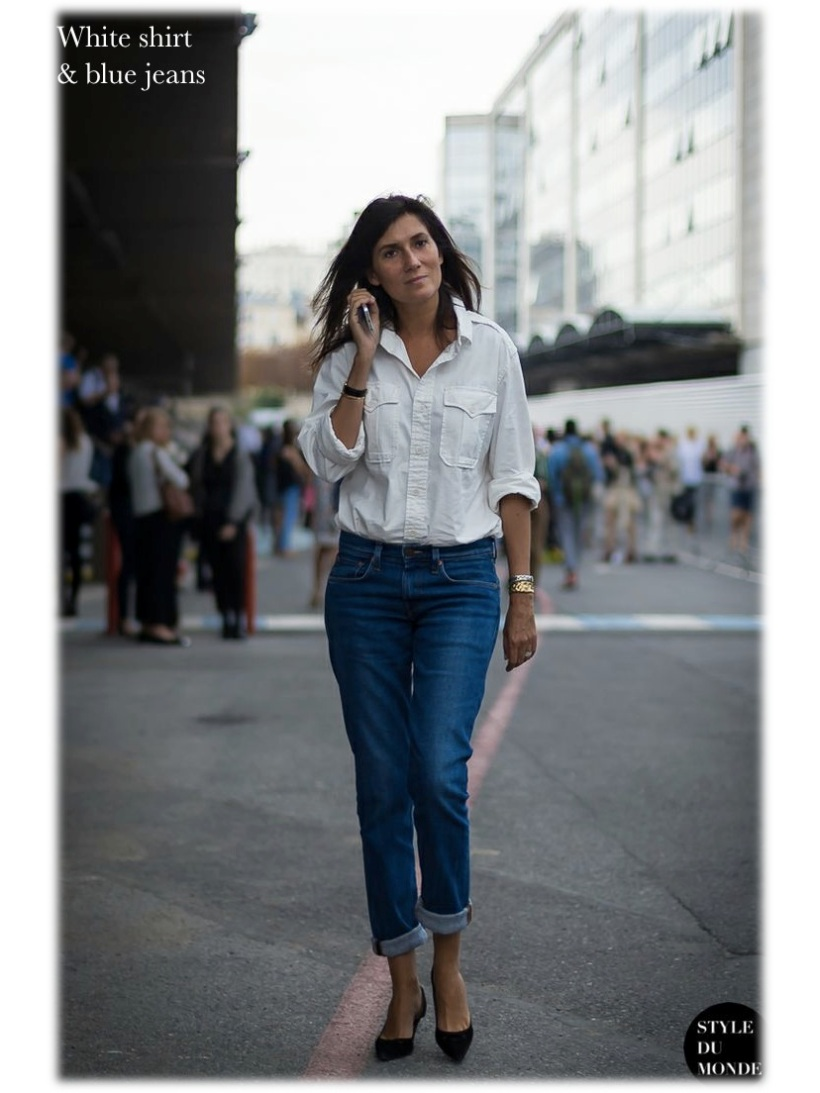 white shirt blue jeans emmanuelle alt fashion moda