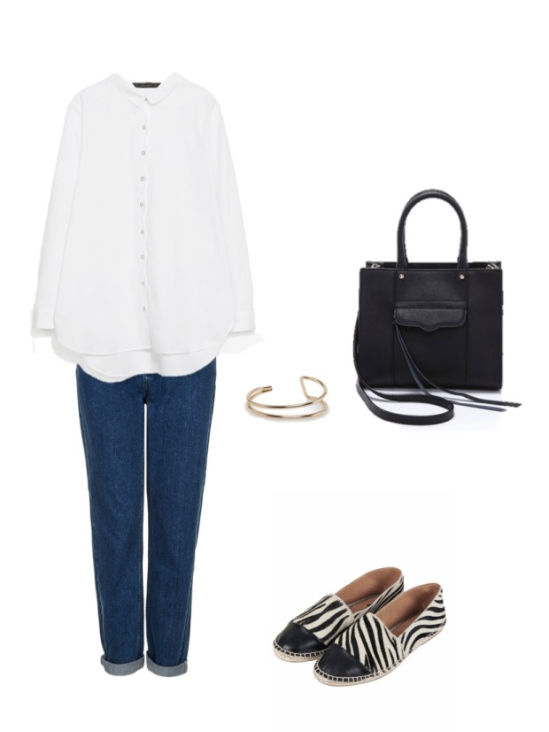 heelsandpeplum looks fashion moda blog street-style white shirt rebecca mink off bag spadrilles mom jeans