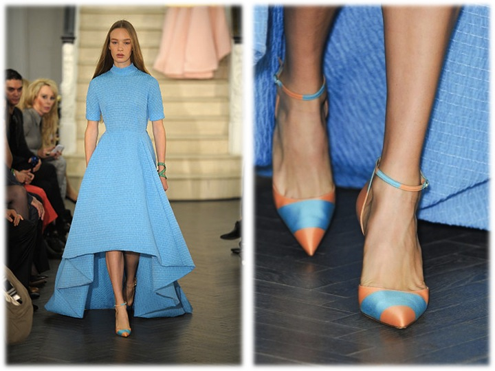 emilia wickstead blue dress caitlin fitzgeral striped shoes