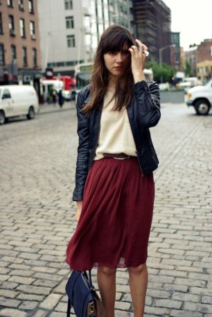 midi skirt leather jacket spring street style fashion moda style heelsandpeplum