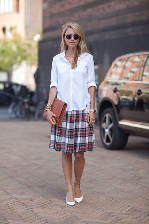 tartan skirt spring street style fashion moda style heelsandpeplum