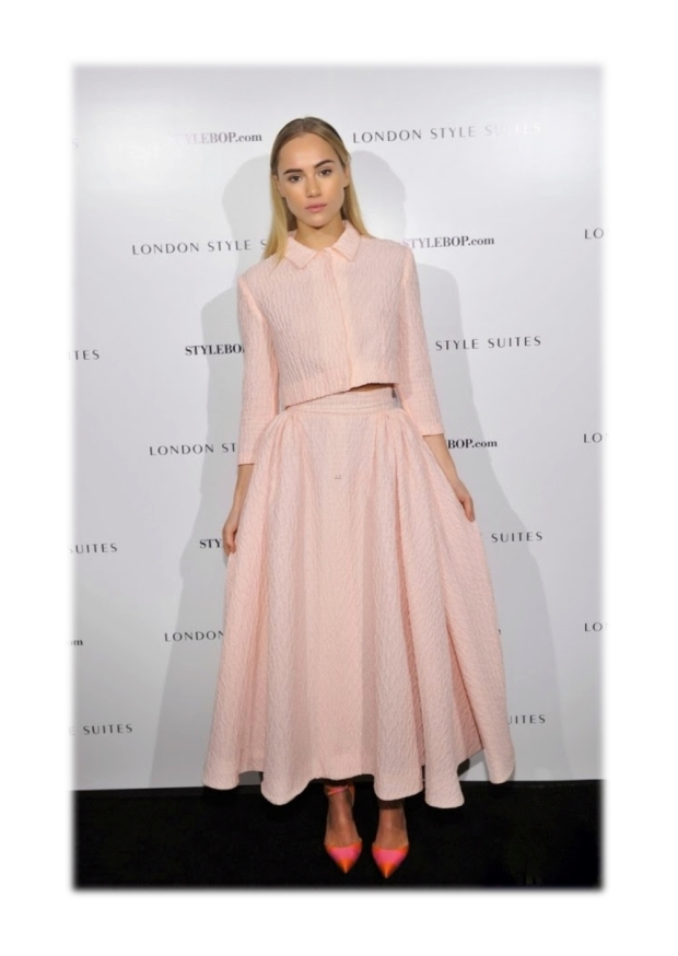 suki waterhouse wearing emilia wickstead ss14