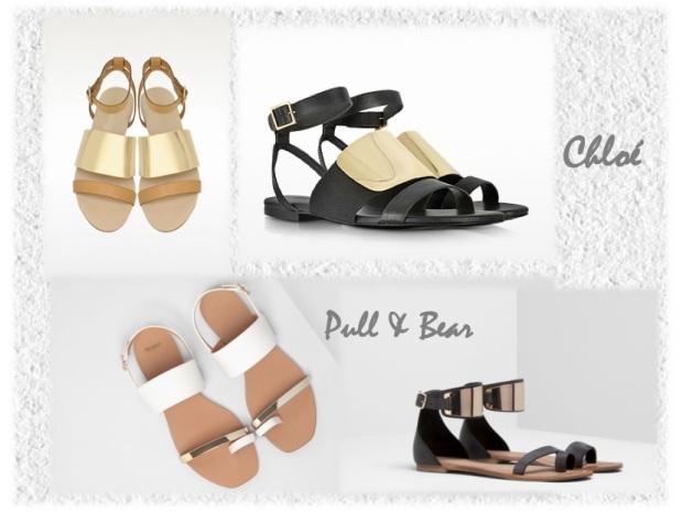 chloé gold strap sandals ss14 pull & bear shopping