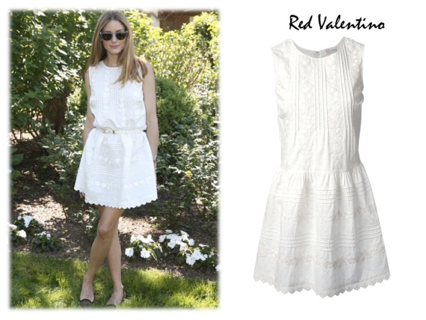 Olivia Palermo wearing Red Valentino embroidered dress