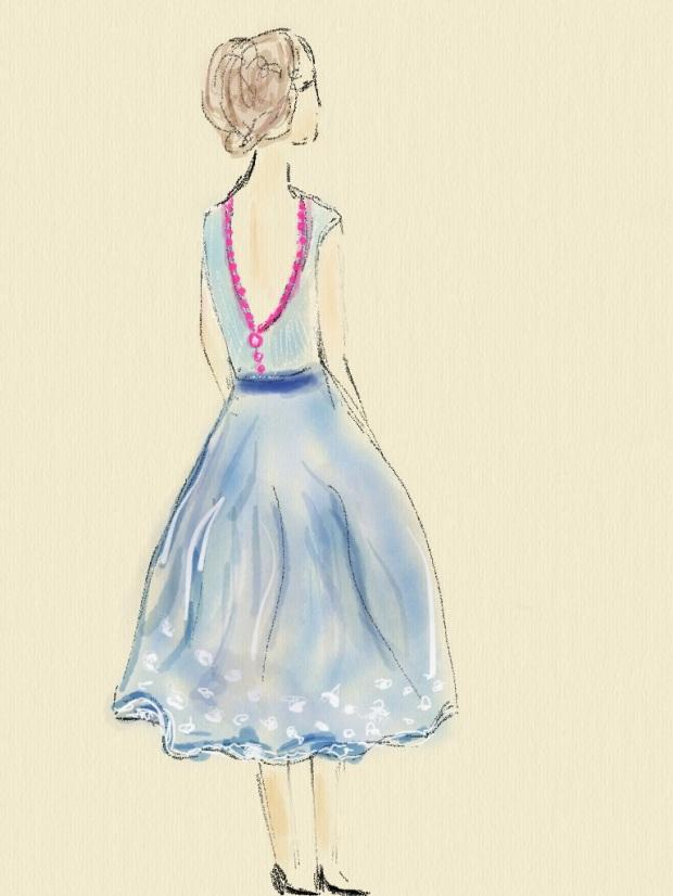 fashion sketch heelsandpeplum design dress lady