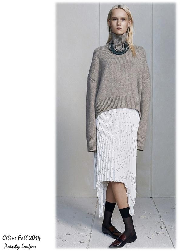 Céline Fall 2014 lookbook pointy loafers