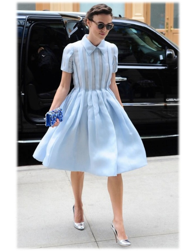 Get the look Keira Knightley Prada dress blue metallic heels New York fashion celebrity