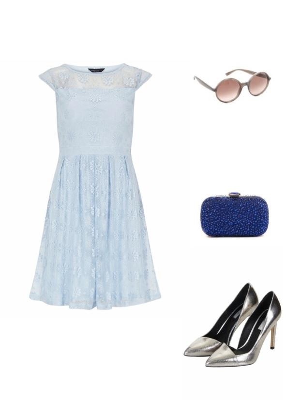 Get the look Keira Knightley Prada dress blue metallic heels New York fashion celebrity