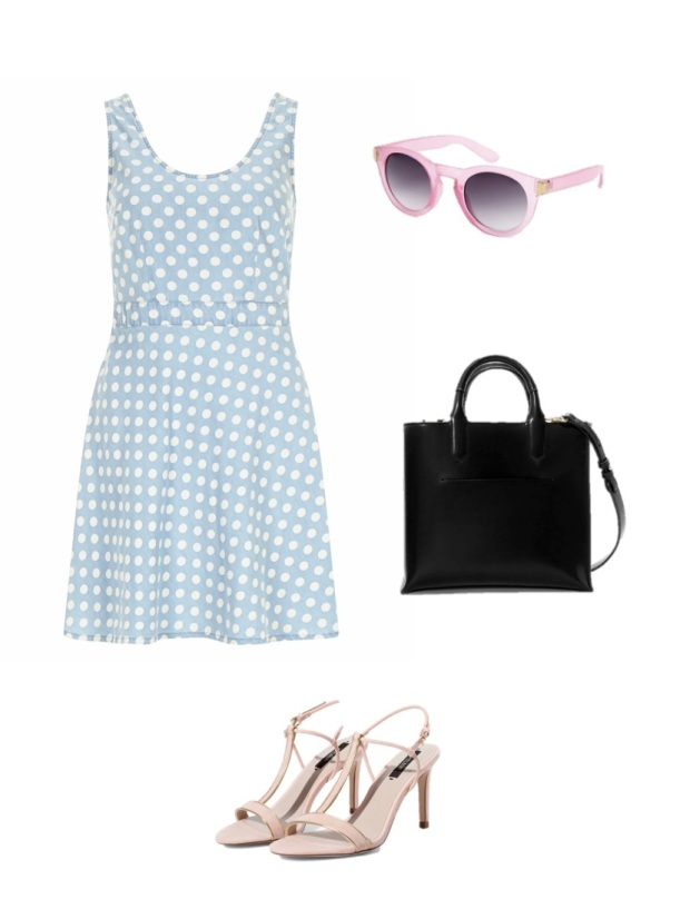 Get the look Hanneli Mustaparta dotted denim dress heeled sandals fashion blogger