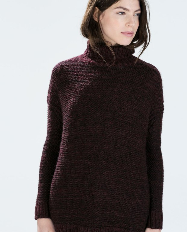 zara knit sweater burgundy