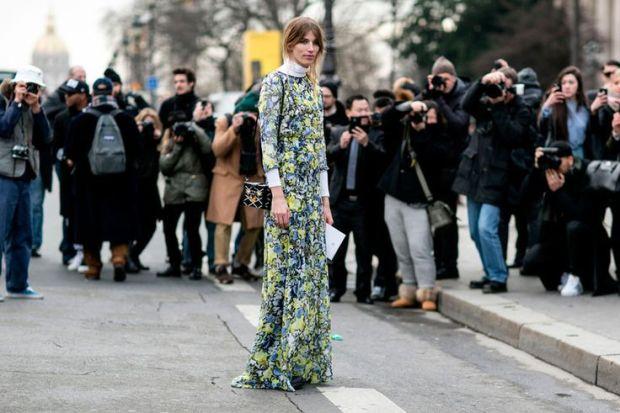 Veronika Heilbrunner wearing an Erdem dress Paris Fashion Week street style PFW Spring 2015 Couture models off duty