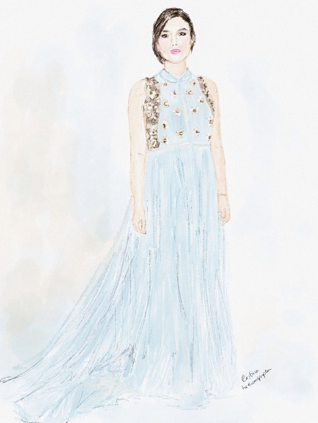 Keira Knightley wearing Del Pozo at Critic Choice Awards heelsandpeplum illustration