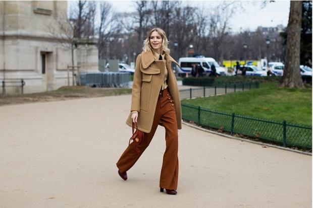 Lena Perminova in Chloé Paris Fashion Week 2015 streetstyle Haute Couture PFW