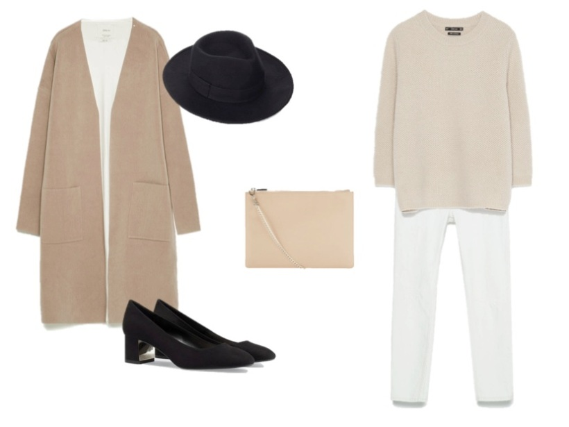 look camel and white heelsandpeplum