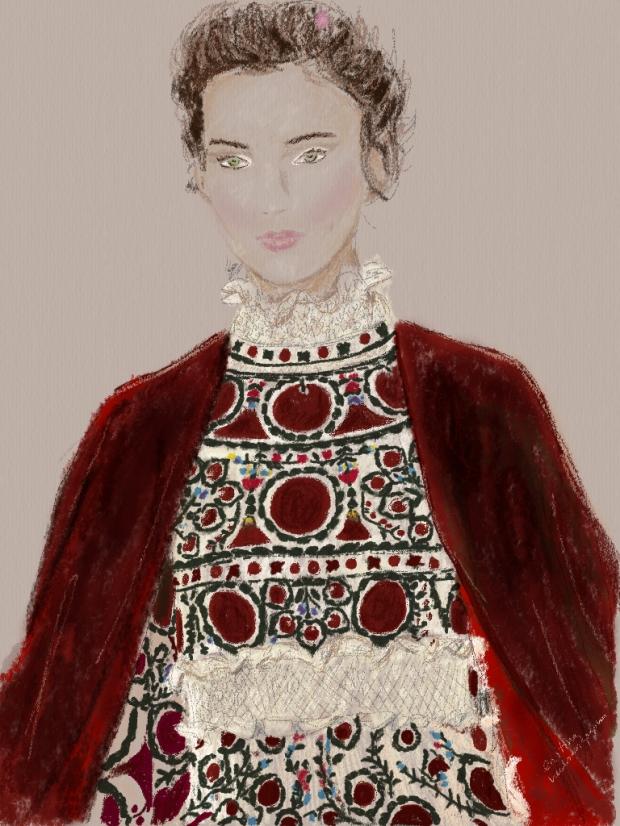 Valentino Haute Couture Spring Summer 2015 Paris Fashion Week illustration by heelsandpeplum
