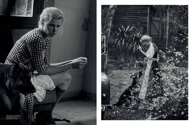 'Alone' Lara Stone by Peter Lindbergh for Interview March 2015