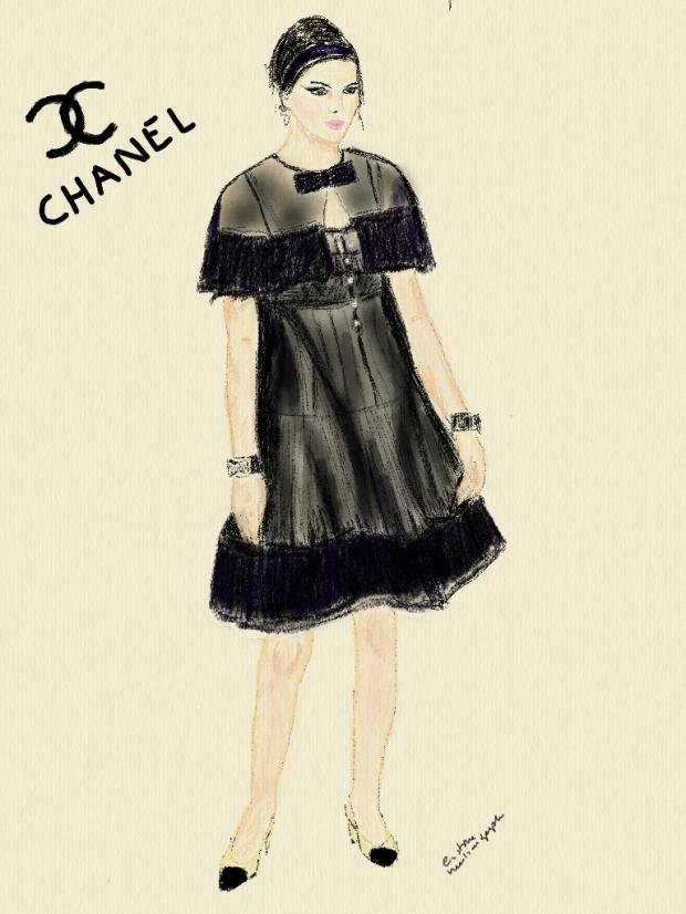 chanel chanel brasserie show kendall jenner illustration by heelsandpeplum