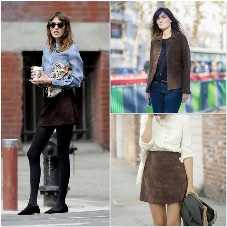 street style  suede Trend alert fashion suede 15 heelsandpeplum alexa chung emmanuelle alt