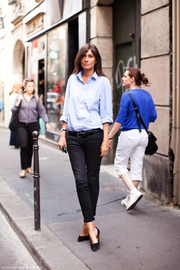 emmanuelle-alt-stockholm-streetstyle streetstyle blue shirt heelsandpeplum ways to wear