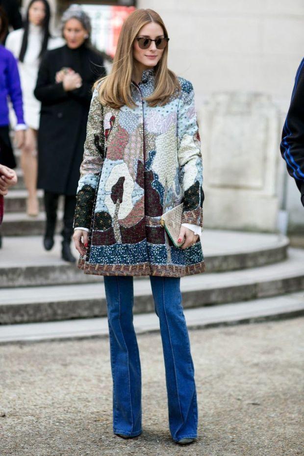Olivia Palermo Paris Fashion Week flare jeans trend streetstyle heelsandpeplum