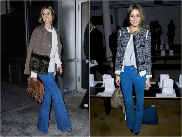Olivia Palermo streetstyle flare jeans heelsandpeplum