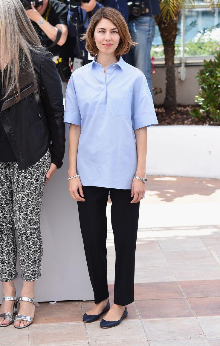 Sofia Coppola wearing Valentino streetstyle blue shirt heelsandpeplum ways to wear