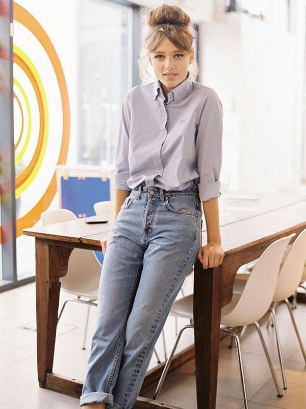 streetstyle blue shirt heelsandpeplum ways to wear