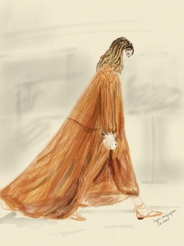 Veronika Heilbrunner wearing Chloé at Paris Fashion Week fashion illustration by heelsandpeplum