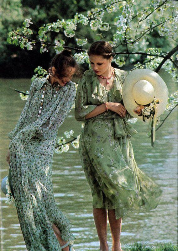Vogue June:July 1975 vintage fashion style color photo print ad model magazine 70s floral dress sheer flutter long knee day bow river blue green