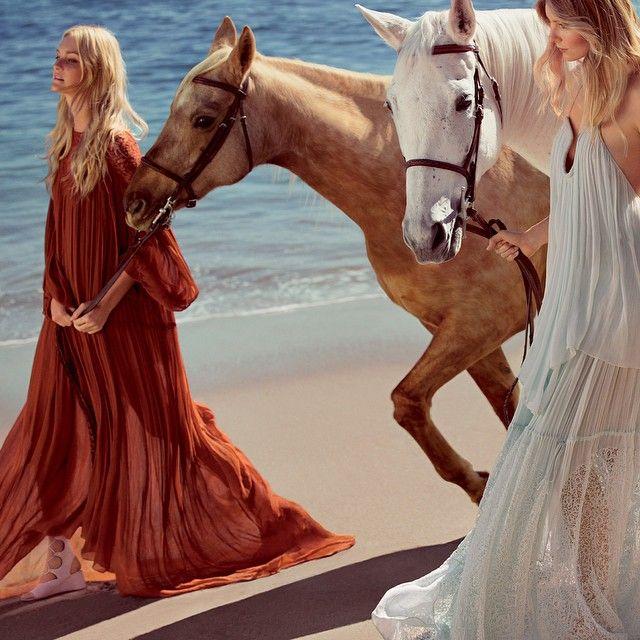 CHLOÉ SS15 CAMPAIGN BEACH HORSES