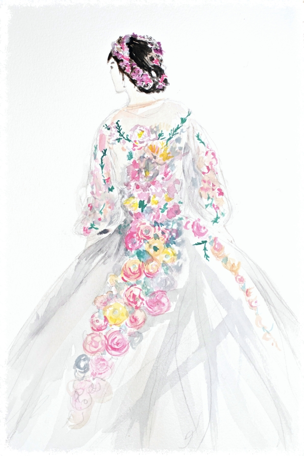 Fan Bingbing marchesa cannes 2015 illustration heelsandpeplum