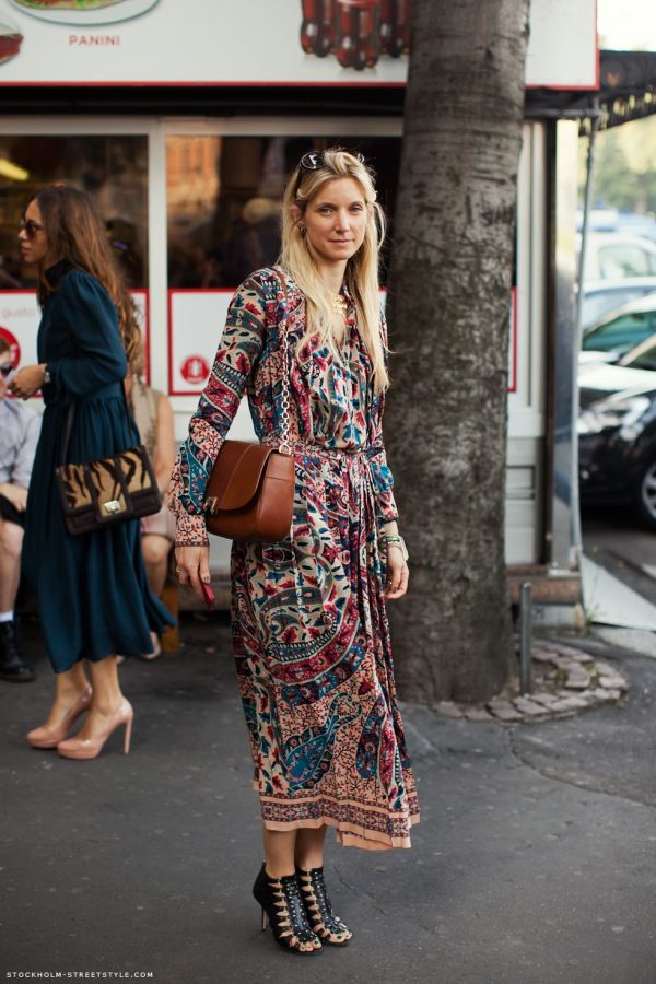 heelsandpeplum bohemian dress streetstyle fashion heels